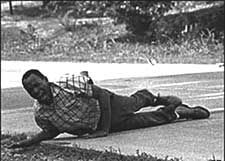"""In September 1962, U.S. Air Force veteran and Republican James H. Meredith enrolled as the first black student at the University of Mississippi. Democratic Governor Ross Barnett strongly opposed his entry into the school. On June 6, 1966, he was shot by a sniper in the back and legs while on a lone """"March Against Fear."""""""