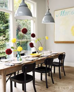 white walls & large windows dining room - image from Elle Decor