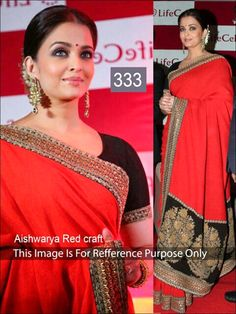 Bollywood Replica Aish Red Craft Saree for INR    3999/- only.. sign up at www.buddiesnation.com