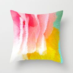 Pink and yellow Throw Pillow by Lara Johnson - $20.00