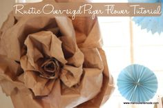 Oversized Rustic Paper Flower Tutorial - Ma Nouvelle Mode Ma Nouvelle Mode Inspiring women everywhere to embrace their inner fabulousness! Paper Bag Flowers, Fabric Flowers, Paper Roses, Paper Flower Garlands, Flower Decorations, Faux Flowers, Diy Flowers, Giant Flowers, Flower Diy
