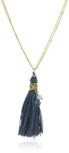 """Satya Jewelry """"Slow Waltz """" Blue Topaz 24k Yellow Gold-Plated Necklace Satya Jewelry. $85.99. Only a soft dry cloth with no chemicals should be used to lightly wipe debris from gold plate.. A chain-wrapped silk tassel dances with you.. The soothing blue hue is accented by faceted stones - blue topaz, stone of communication, and angelite. A double chain adds to the glamour.. Made in USA. Gemstones are natural, there will be minor variances in color and size"""