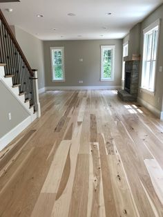 Character grade wide plank hickory flooring finished with a bona woodline. Hickory Wood Floors, Grey Wood Floors, Wide Plank Flooring, Engineered Hardwood Flooring, Wood Floor Kitchen, Kitchen Flooring, Floor Finishes, New Homes, Inspiration