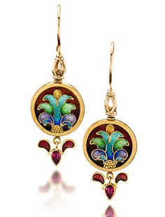 "Cloisonne Earrings ""Carnivale 11""  Cloisonne Enameled 22k Gold Earrings. Drops are Plique a Jour Enamel and Rubies  2.20"" x.75"" x.125""  $4125.00"