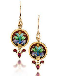 """Cloisonne Earrings """"Carnivale 11""""  Cloisonne Enameled 22k Gold Earrings. Drops are Plique a Jour Enamel and Rubies  2.20"""" x.75"""" x.125""""  $4125.00"""