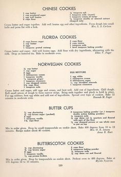 Vintage Cookies Recipes From Chinese Cookies, Florida Cookies, Norwegian Cookies, Butter Cups, Butterscotch Cookies Retro Recipes, Old Recipes, Cookbook Recipes, Sweet Recipes, Baking Recipes, Recipies, Delicious Recipes, Family Recipes, Blender Recipes