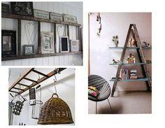 Decora con escaleras viejas de madera o metal