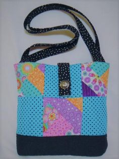 9f0486dd2e NEW HANDMADE QUILTED VINTAGE FABRIC BLACK BLUE PATCHWORK POLKADOT TOTE BAG  PURSE