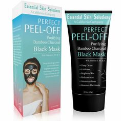 Black Charcoal Face Mask Peel Off Exfoliating Facial Mask Purifying Pore Minimizer Brightening Blackhead Remover Bamboo Detox for Smooth Clear Skin Helps Reduce Acne Dark Spots *** Visit the image link more details. (This is an affiliate link) Black Charcoal Face Mask, Charcoal Peel Off Mask, Skin Care Acne, Face Mask Peel Off, Acne Dark Spots, Nose Pores, Face Brightening, Avocado Face Mask, Minimize Pores