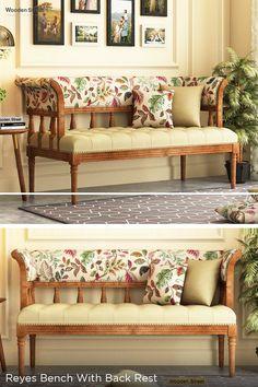 Living Room Bench, Living Room Sofa Design, Home Room Design, Living Room Designs, Home Decor Furniture, Home Furnishings, Furniture Design, Ethnic Home Decor, Indian Home Decor