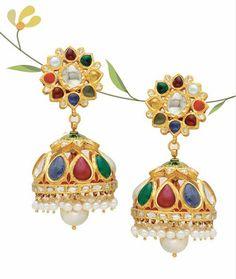 By P.C.Totuka, Jaipur. Shop for your wedding jewellery, with Bridelan - A personal shopper & stylist for Indian brides & grooms. Website www.bridelan.com #Bridelan #weddingjewellery #Indianjewellery #jewellery #navratan #traditionaljewellery #navaratna