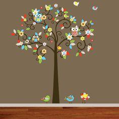 Vinyl Wall Decal Owl Tree Set For The Nursery