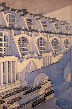 "Virgilio Marchi ""Città"" (city) 1919 Ink and watercolors on paper"