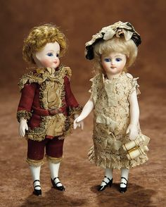 """""""Fascination"""" - Sunday, January 8, 2017: 5 Pair, German All-Bisque Dolls in Original Costumes"""