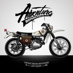 Super Ideas For Vintage Bike Vector Illustrations Trail Motorcycle, Enduro Motorcycle, Moto Scrambler, Scrambler Custom, Enduro Vintage, Vintage Bikes, Vintage Honda Motorcycles, Custom Motorcycles, Honda Dirt Bike