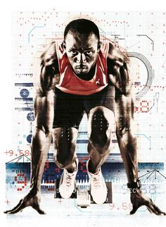 """Alex Williamson was born in England in 1973 and now lives and works as an illustrator"""" and Graphic Artist in London. Alex Williamson has a BA Graphic Design (printmaking) from Leeds Metropolitan University. Usain Bolt Olympics, 2020 Olympics, Red Bulletin, Red Bull Media House, Sports Graphics, Dynamic Poses, Digital Painting Tutorials, Anatomy Tutorial, Female Poses"""