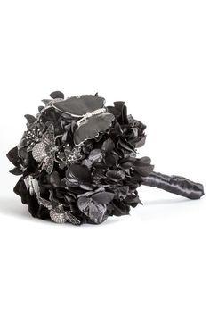 Black Mixed Materials Brooch Bouquet
