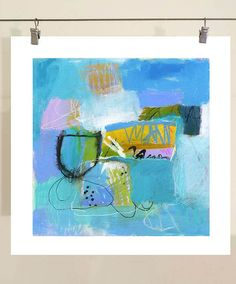 Abstract Wall Art Print on Paper Featuring Blue Gold by AbbyCreek