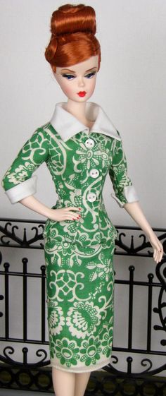 Green and white 3/4 sleeve suit for Silkstone Barbie by HankieChic, on Etsy now