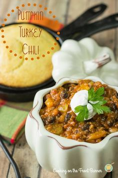 Pumpkin Turkey Chili | Cooking on the Front Burner | Three Hot Dishes | www.threehotdishes.org