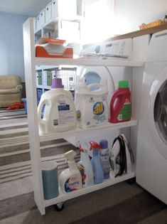 Cool idea for a custom shelf between the washer and dryer.