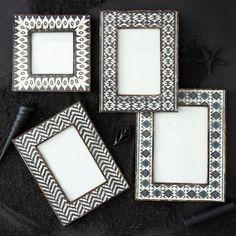 Global appeal. Brown Ikat photo frame set of 4 from @Zinc_Door #zincdoor #accessories #frames