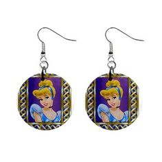 New Disney Princess Cinderella Button Earrings Carol and I need these!
