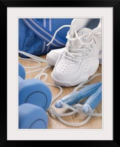 more photos 8b7e5 0b332 GreatBIGCanvas Various Exercise Equipment Photographic Print with Black  Frame 18 x 24     Details