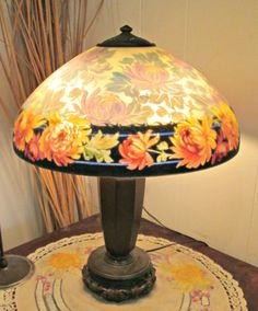 HANDEL REVERSE PAINTED CHRYSANTHEMUM TABLE LAMP #REVERSEPAINTED #HANDEL