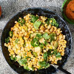 Grilled Corn Salad with Hot Honey-Lime Dressing Recipe | Bon Appétit Corn Salad Recipes, Corn Salads, Vegetable Recipes, Fruit Salads, Avocado Recipes, Vegetable Salad, Savory Salads, Healthy Recipes, Vegetable Sides