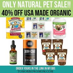 PET SALEFOR YOUR Fur baby's hurry and save on vitamins holistic care treats and food!! With a 40% off promo code at check out click the link in my bio @tomorrowsmom to get your savings!!