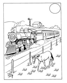 Steam Locomotive Train Coloring Page Products I Love Pinterest