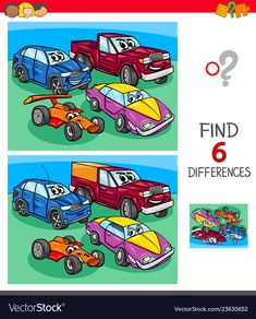 Cartoon Illustration of Finding Six Differences Between Pictures Educational Game for Children with Funny Cars , Spot The Difference Kids, Find The Difference Pictures, Preschool Worksheets, Kindergarten Activities, Visually Impaired Activities, Kids Word Search, Educational Websites For Kids, Drawing Lessons For Kids, Reading Comprehension Activities