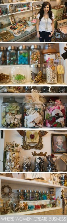 How to use jars to store your craft supplies. As seen in Norma Rapko's studio in Where Women Create BUSINESS magazine. Spring 2015. Vol.3 Issue 2.