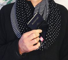 Travel Scarf With Hidden Pocket - perfect for your passport & phone!