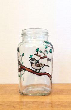Hand painted bird on glass jar Smart Kitchen, Kitchen Storage, Kitchen Decor, Mason Jars, Glass Jars, Lazy Susan, Under Sink, Organizer, Cool Kitchens