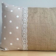 "Dotty Fabric Natural Hessian Lace Vintage Oblong Scatter Cushion Cover 11""x17"""