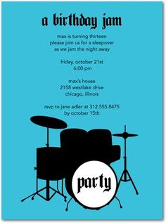 rock music party invitations