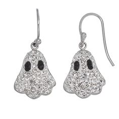 Crystal Ghost Drop Earrings (White) (26 CAD) ❤ liked on Polyvore featuring jewelry, earrings, lullabies, white, white earrings, crystal earrings, fish hook earrings, crystal jewelry and fish hook jewelry