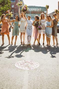 boho bridesmaids // photo by Amber Gress // View more: http://ruffledblog.com/boho-greenpoint-loft-wedding/