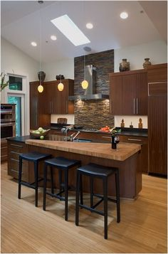 Natural elements are prominent in this Asian inspired kitchen.
