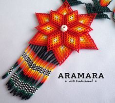 Mexican Huichol Beaded Flower Necklace Bracelet and by Aramara Mexican Jewelry, Flower Necklace, Beaded Flowers, Beaded Jewelry, Beaded Necklaces, Bead Art, Necklace Lengths, Seed Beads, Crochet Hats