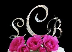 $47.50 French Flower ~ Crystal Accented Monogram Cake Topper Set
