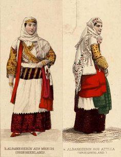Albanian in Attica Folk Costume, Costumes, Albanian People, Jessica Rose, Mythology, Infographic, Greek, Princess Zelda, History