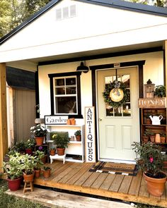 She Shed Decorating Ideas, Porch Decorating, Backyard Sheds, Outdoor Sheds, Shed Office, Shed With Porch, Shed Makeover, Craft Shed, Shed To Tiny House