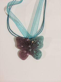 Blue and purple glitter butterfly neckalce pendant. by LilandAriy