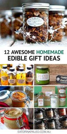 12 Awesome Homemade Edible Gift Ideas Next time you're looking for that perfect present, why not make some DIY edible gifts. Homemade cookies, spice blends and yummy pesto - lots to choose from. Homemade Food Gifts, Diy Food Gifts, Homemade Cookies, Diy Gifts Edible, Homemade Housewarming Gifts, Edible Christmas Gifts, Diy Holiday Gifts, Homemade Christmas Presents, Xmas Presents