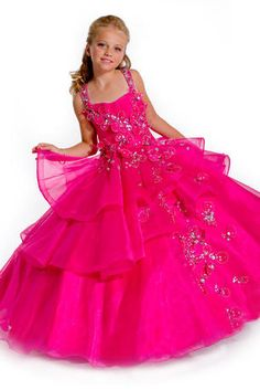 Girls Pageant Dress by Party Time Perfect Angels 1467. Shown in Raspberry.