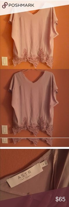 ASTR the Label dusty rose double v neck blouse Gorgeous never worn just washed boho chic top. Its flowy with beautiful embroidery and accented hem. Drapes nicely on the body. I'm a huge fan of this dusty rose color and I don't see it going away. In new condition. No trades. Reasonable offers only please. Gift with purchase. Ships in 24-48hrs. . Astr the labek Tops