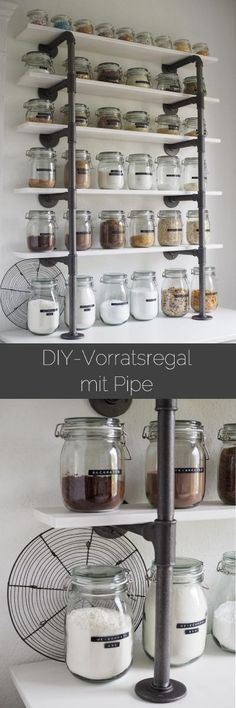 Vorratsregal aus Industrierohren - pipe shelf, DIY, industrial storage, IKEA mit Dymo